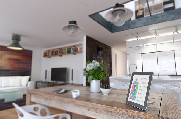 Inside of a kitchen with security on a tablet