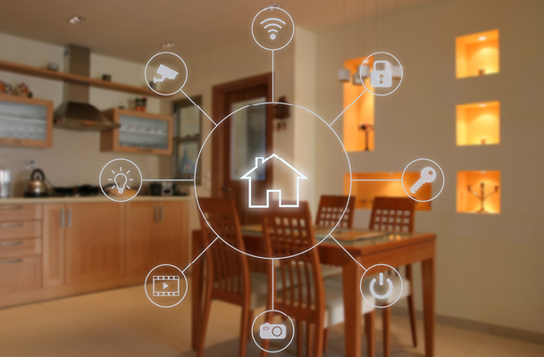 Inside of a home with icons of home security floating